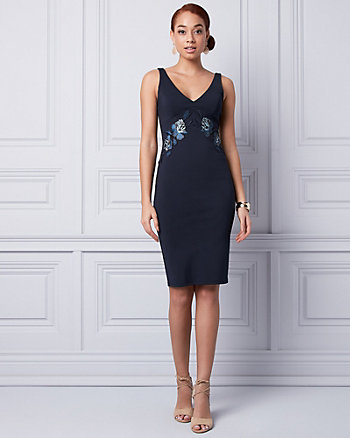 Embroidered Ponte V-Neck Dress