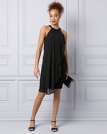Knit & Chiffon Halter Cocktail Dress