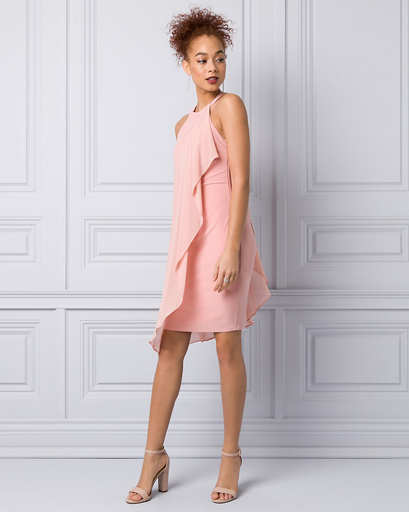 Knit   Chiffon Halter Cocktail Dress  b84b023e1