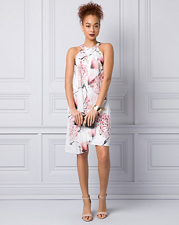 Floral Print Chiffon & Knit Halter Dress