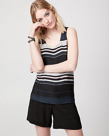 Stripe Crêpe de Chine & Jersey Tank Top