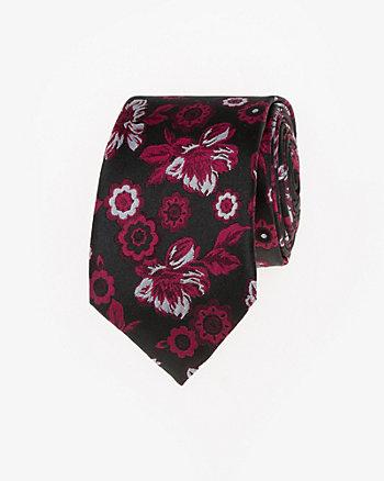 Floral Print Silk Skinny Tie