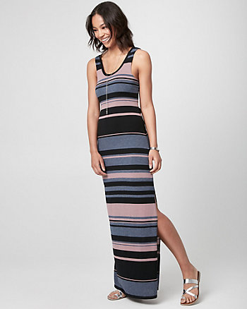Stripe Jersey Scoop Neck Maxi Dress
