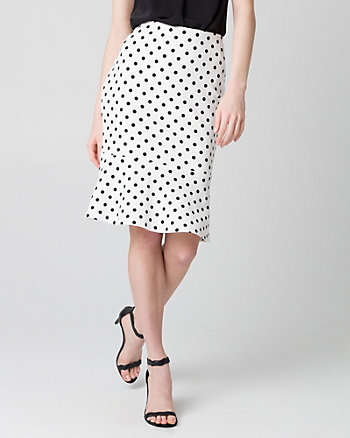 Dot Print Knit Crêpe Peplum Skirt