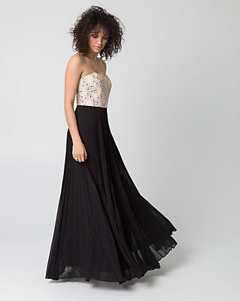 Embroidered Lace & Mesh Sweetheart Gown