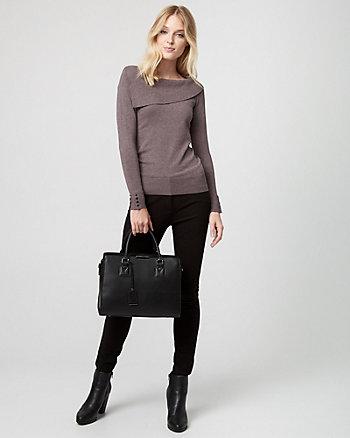 Viscose Blend Foldover Neck Sweater