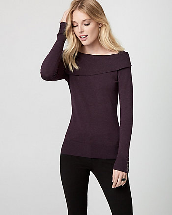 Viscose Blend Foldover Neck Sweater