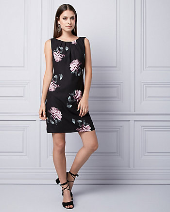 Floral Print Satin Ruffle Dress