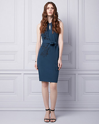 Embroidered Knit Crêpe Cocktail Dress