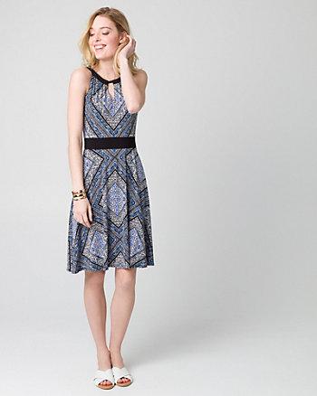 Scarf Print Knit Halter Dress