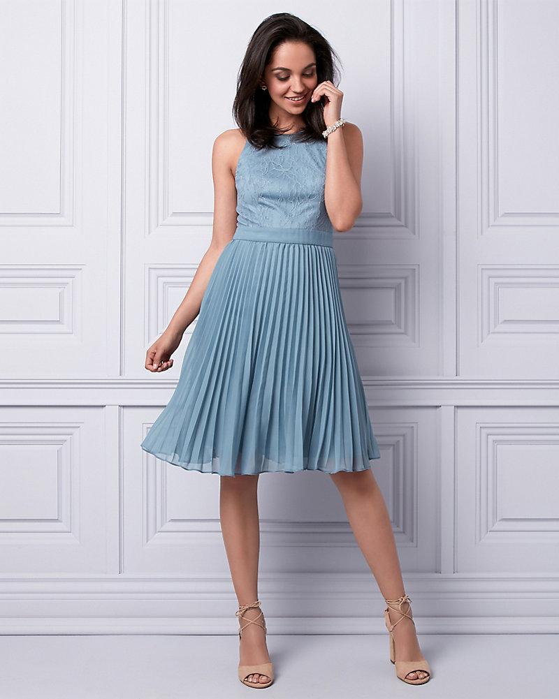 Lace & Chiffon Halter Dress | LE CHÂTEAU