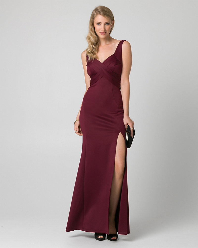 Scuba Knit V-Neck Pleated Gown | LE CHÂTEAU