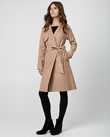 Cashmere-Like Belted Trench Coat