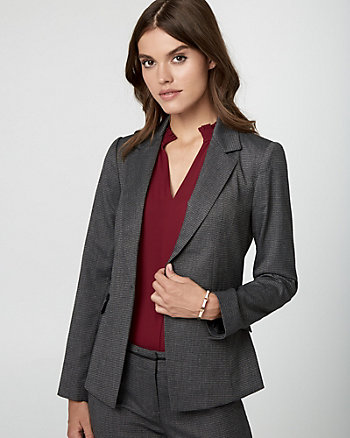 Tweed Viscose Blend Notch Collar Blazer