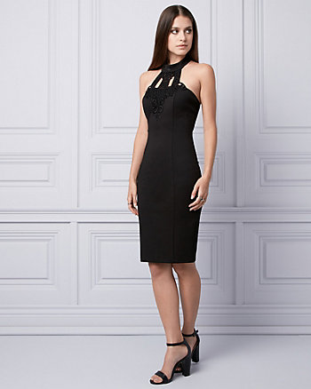 Lace & Ponte Halter Dress