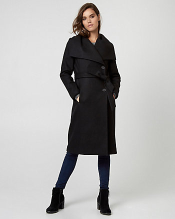 Melton Wool Belted Wrap Coat