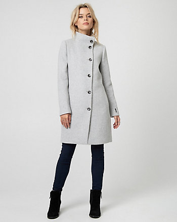 Wool Blend Funnel Neck Asymmetrical Coat