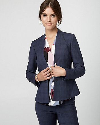 Glen Check Viscose Blend Blazer