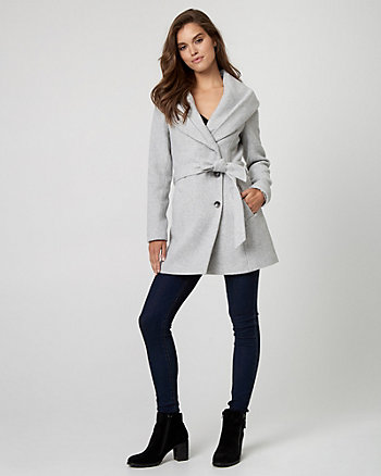 Wool Blend Belted Coat