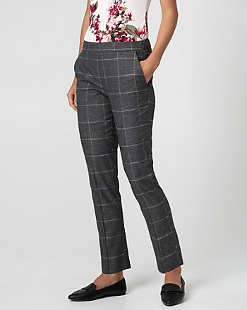 Glen Check Viscose Blend Straight Leg Pant