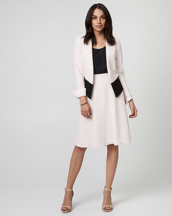Colour Block Crêpe Open-Front Blazer