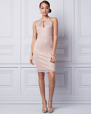 Metallic Knit Halter Dress