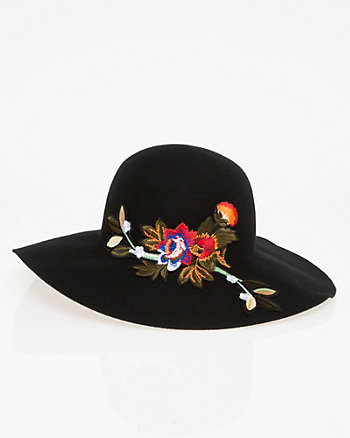 Embroidered Wool Floppy Hat
