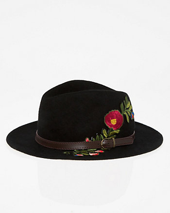 Embroidered Wool Fedora Hat