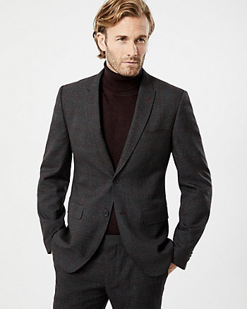 Check Print Viscose Blend Slim Fit Blazer