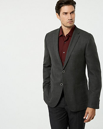 Textured Viscose Blend Slim Fit Blazer