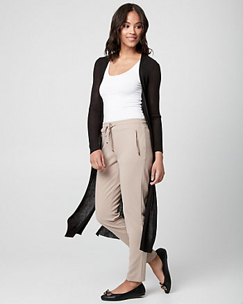 Rib Knit Open-Front Duster Cardigan