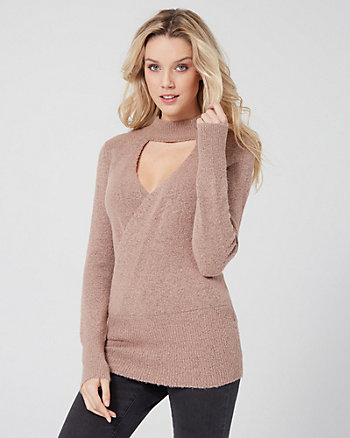 Textured Bouclé Wrap-Like Sweater