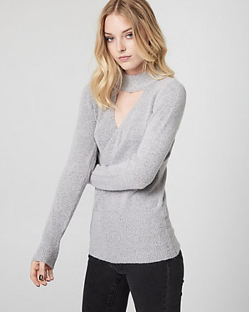 Textured Bouclé Wrap-Like Sweater