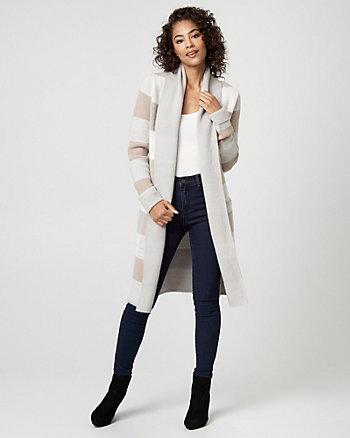 Check Print Wool Blend Sweater Coat