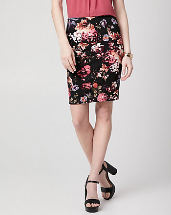Floral Print Knit Crêpe Pencil Skirt