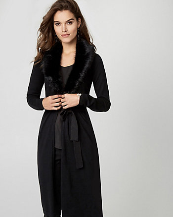 Knit Duster Cardigan with Faux Fur Collar