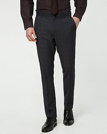 Windowpane Slim Leg Pant