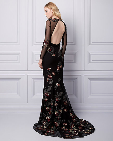 Embroidered Mesh Gown | LE CHÂTEAU
