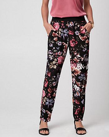 Floral Print Viscose Slim Leg Pant