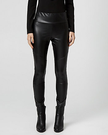 Faux Leather & Knit Skinny Leg Legging