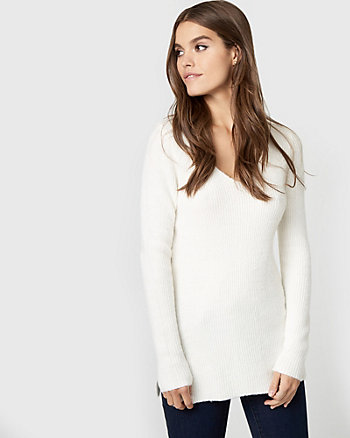 Textured Bouclé Lace-Up Sweater