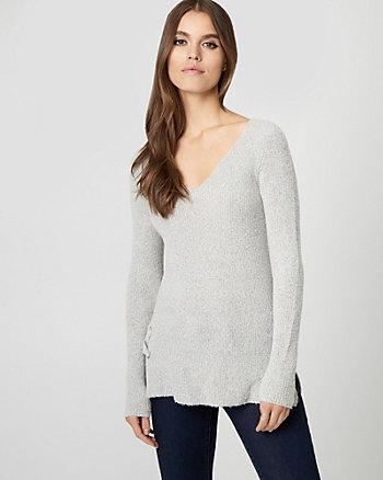 Textured Bouclé Lace-Up Sweater