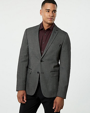Herringbone Viscose Blend Slim Fit Blazer