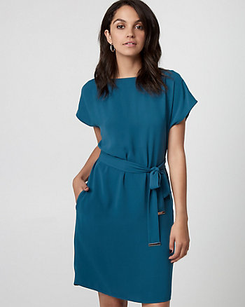 Crêpe de Chine Belted Dress