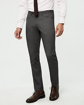 Brushed Tweed Slim Leg Pant