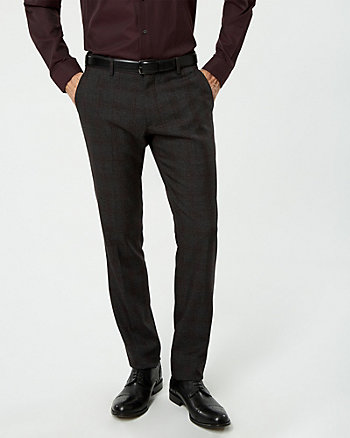Check Print Viscose Blend Slim Fit Pant