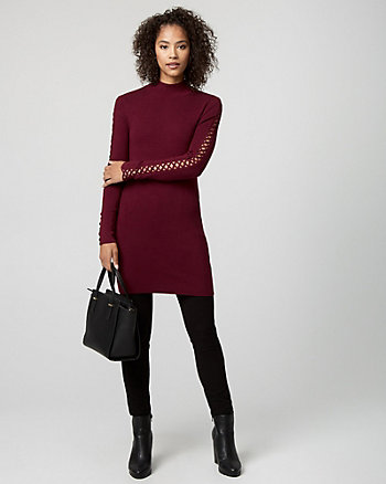 Rib Lace-Up Sleeve Sweater