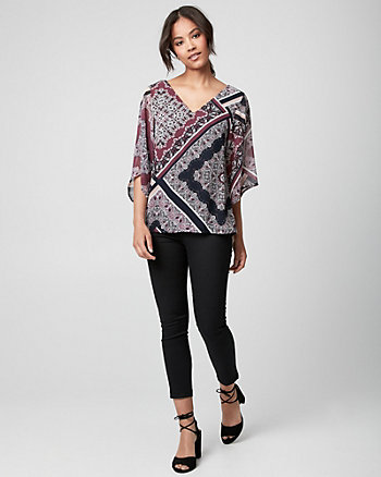 Ornamental Print Chiffon Criss-Cross Blouse