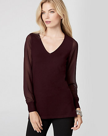 Knit & Woven V-Neck Sweater