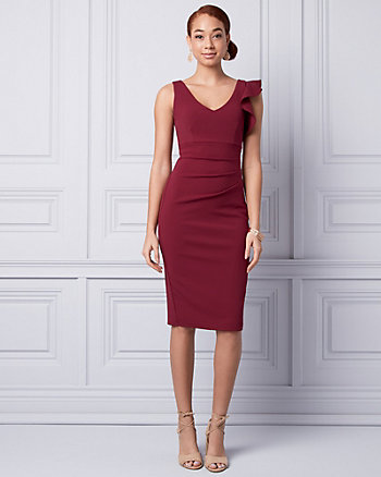 Knit Crêpe V-Neck Ruffle Dress